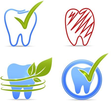 caries dental: Dientes de recogida ilustración Los dientes sanos y dientes símbolos rojos saludables de color