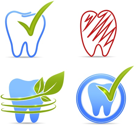 Teeth illustration collection  Healthy teeth and unhealthy tooth  red color  symbols  Vector
