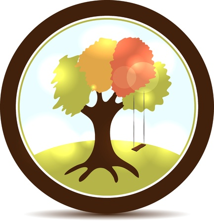 Beautiful tree illustration with swings  Round landscape icon  Vector