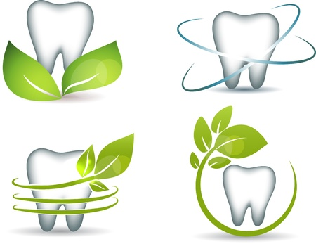 Healthy teeth with green leafs  Clean and bright designs   Ilustracja