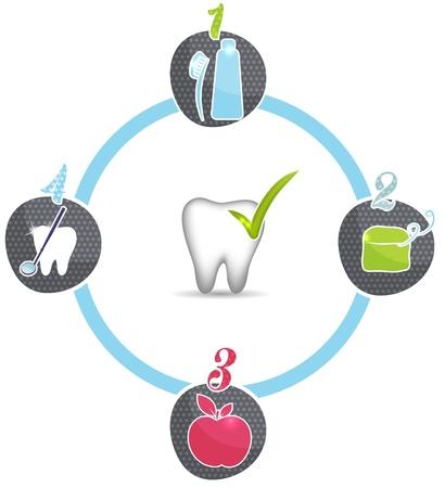 higiene bucal: Dientes sanos consejos, s�mbolos Brush diarias, usar hilo dental todos los d�as, comer alimentos saludables, las visitas regulares al dentista Vectores