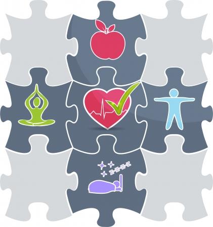 의료 퍼즐 건강한 라이프 스타일 개념 설명 좋은 잠, 피트니스, 건강 식품, 스트레스 관리는 건강한 마음과 건강한 생활로 연결 일러스트