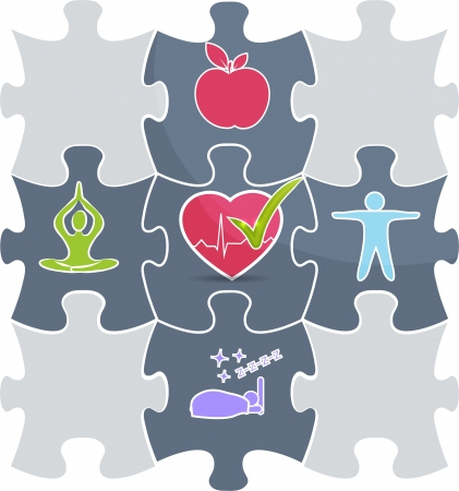 Health care puzzle  Healthy lifestyle conceptual illustration   Good sleep, fitness, healthy food, stress management leads to healthy heart and healthy life  Vector