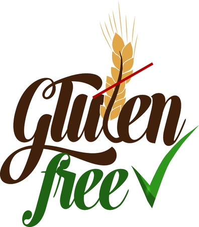 Gluten free conceptual message  Isolated on a white background  Illustration