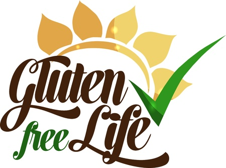food allergies: Gluten free life message  Isolated on a white background