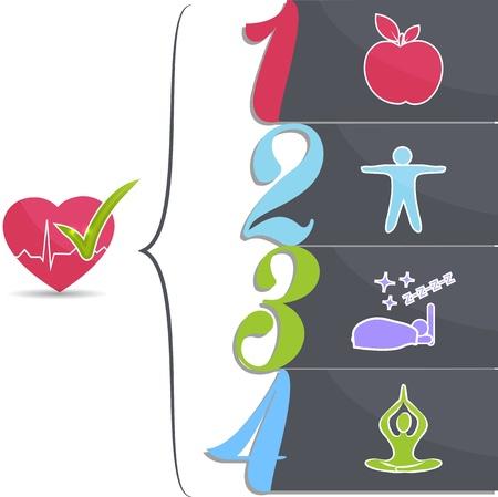tippek: Egészséges életmód tippek jó alvás, fitness, egészséges táplálkozás, a stressz kezelése vezet az egészséges szív és az egészséges élet Illusztráció