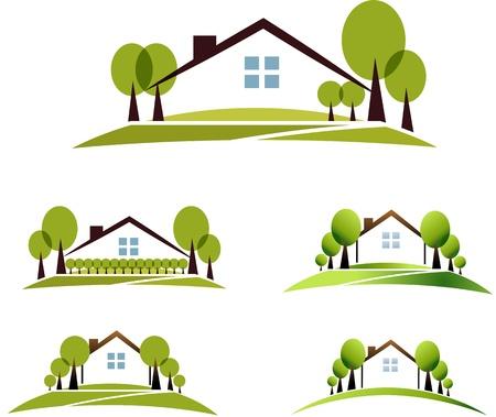 家と庭のイラスト コレクション美しい庭、木々 と白い背景に分離された芝生