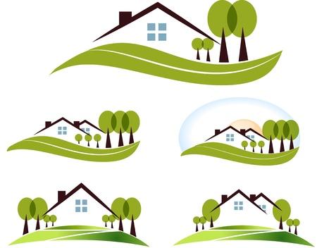 Casa e giardino illustrazione di raccolta bellissimo giardino, alberi e prato isolato su uno sfondo bianco Vettoriali