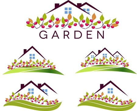 Fruit garden and house  Beautiful garden, apple trees and lawn  Isolated on a white background   Vector