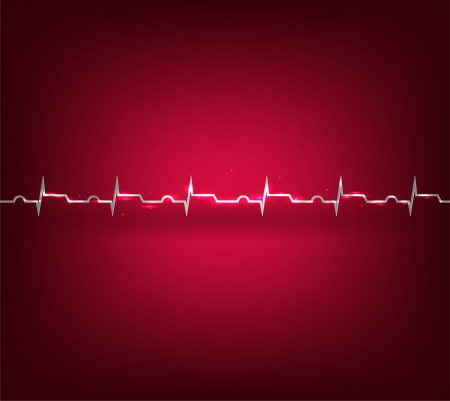 Heart attack, infarct  Illustration of heart rate monitoring, cardiogram  Vector