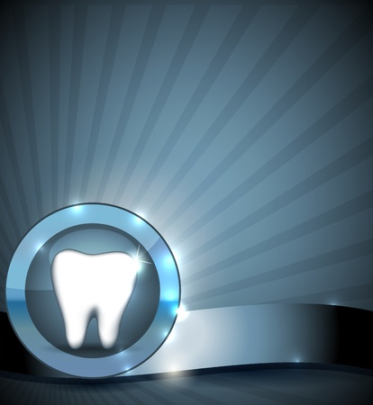 cavities: Dental sign, brochure design  Healthy tooth in round circle  Clean and bright design