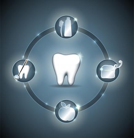 patient chart: Healthy teeth wheel  Blue design  Illustration