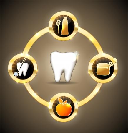 holten: Gezonde tanden wiel Gouden ontwerp Stock Illustratie