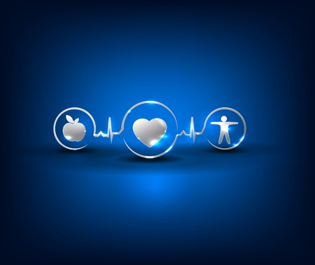 reanimation: Heart health care symbols  Healthy food and fitness leads to healthy heart and life  Symbols connected with heart rate monitoring line  Bright and bold design