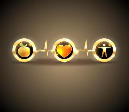 infarctus: C?ur de soins de sant� des symboles de nourriture saine et de remise en forme m�ne � la sant� du coeur et de la vie Symboles connect�e avec la ligne de contr�le de la fr�quence cardiaque lumineux et design audacieux Illustration