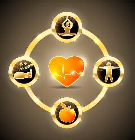 musicoterapia: Health care simbolo ruota cibo sano, il fitness, il cibo healhy, buon sonno e il rilassamento porta a cuore sano e la vita brillante e audace design