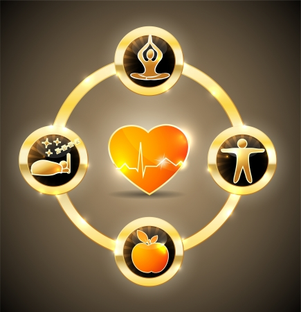 Health Symbols Healthy Heart Healthy Food Good Sleep Yoga