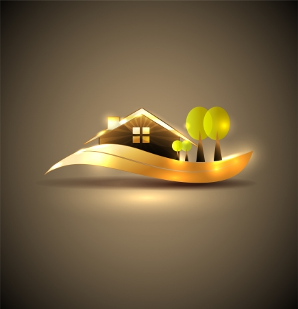 Beautiful house and trees illustration  Beautiful garden, trees and lawn  Elegant golden design, bright and bold