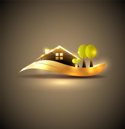 Mooi huis en bomen illustratie Prachtige tuin, bomen en gazon Elegant gouden ontwerp, helder en gewaagd