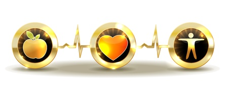 supplements: Wellness and healthy heart symbol  Illustration