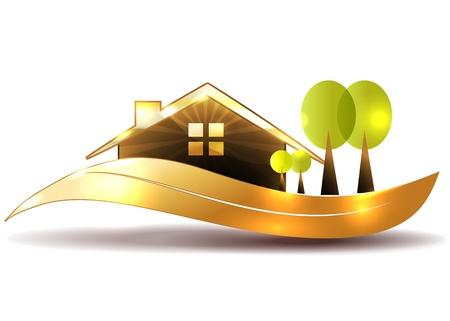 아름다운 집과 나무 정원 밝고 대담한 일러스트