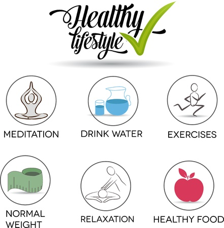 living: Healthy lifestyle symbol collection Healthy food, exercises, normal weight, drinking water, relaxation and meditation  Isolated on a white background