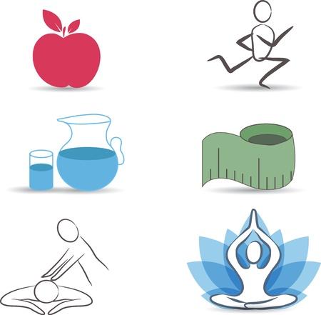 Gezonde levensstijl symbool verzameling Gezonde voeding, oefeningen, een normaal gewicht, drinkwater, ontspanning en meditatie Geïsoleerd op een witte achtergrond Stock Illustratie