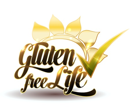 gluten: Gluten free sign. Elegant luxury design.  Isolated on a white background. Illustration