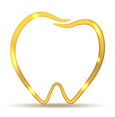 dientes con caries: Diseño de oro del diente. Ejemplo hermoso del diente sano. Atención dental de lujo. Vectores