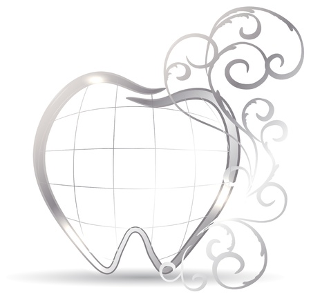 tooth pain: Beautiful tooth illustration. Silver tooth and abstract swirls. Luxury dental care Illustration