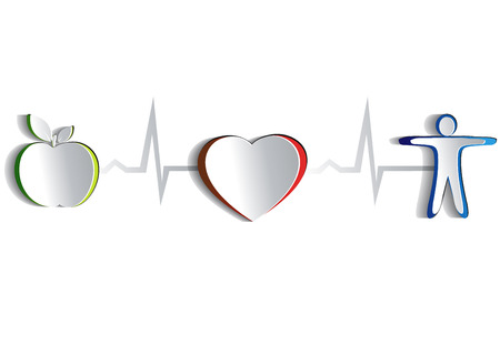 being: Healthy lifestyle symbol collection  Paper looking design   Healthy food and fitness leads to healthy heart and life  Symbols connected with heart rate monitoring line  Isolated on a white background