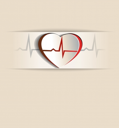 infarct: Vintage Heart, cardiogram concept  Paper looking design   Heart and heart rate monitoring line