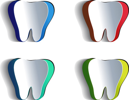cavities: Tooth   Set of tooth illustrations cut of paper, various colors