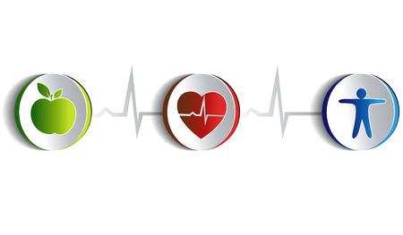 infarctus: Collection de symboles de vie sain Illustration