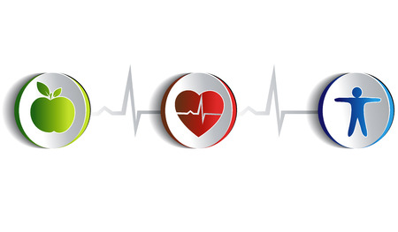 heart attacks: Healthy lifestyle symbol collection   Illustration
