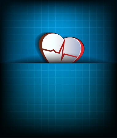 Abstract heart beat concept, cardiogram concept  Paper looking design   Heart and heart rate monitoring line   Vector