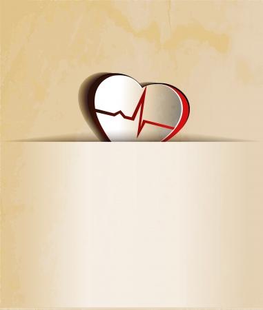 angina: Corazón Vintage, cardiograma concepto de papel en busca del diseño del corazón y la línea de control de la frecuencia cardíaca