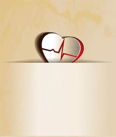 angina: Vintage Heart, cardiogram concept  Paper looking design   Heart and heart rate monitoring line