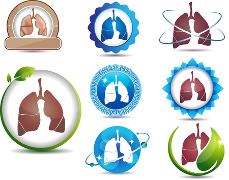 Lungs. Great collection of lungs symbols. Lungs health care concept.  Bright and bold design.  Stock Vector - 22445918