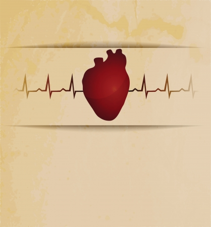 human being: Human heart silhouette and cardiogram behind. Beautiful vintage design. Illustration