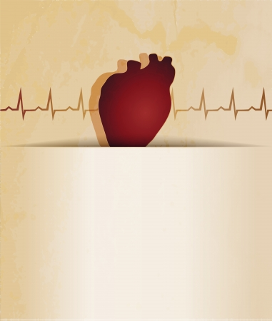 atherosclerosis: Normal heart beat rhythm, cardiogram  and heart wallpaper. Medical background. Vintage design.
