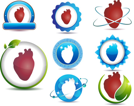 angina: Heart care symbol collection. Concept of nature and science involved in heart protection.
