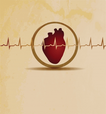 Normal heart beat rhythm, cardiogram  and heart wallpaper. Medical background, bright design. Vector
