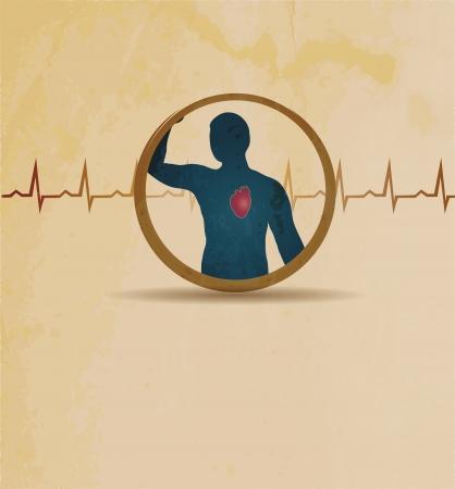 angina: Silueta humana y el corazón. Cardiograma normal. Diseño de cosecha.