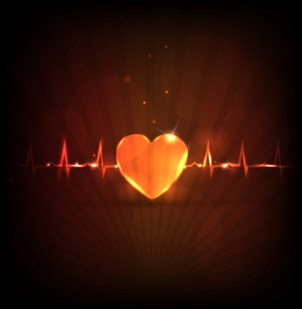 Abstract heart wallpaper. Normal heart beat rhythm, cardiogram  and abstract heart. Medical background, bright design. Vector