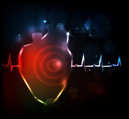 Carta da parati concettuale di sanità di cuore artistico. Sfondo medico, design luminoso.