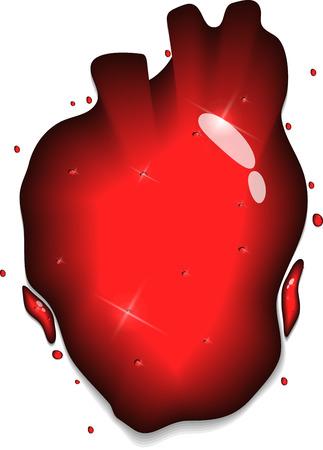 infarctus: Concept de c?ur humain. Forme de coeur rouge de d�marrage liquide. Illustration