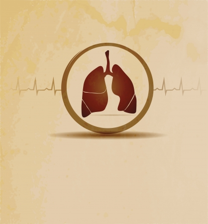 Medical background with lungs and cardiogram. Illustration