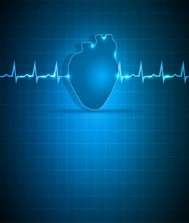 Blue medical background with heart. Abstract cardiogram and human heart. Vector
