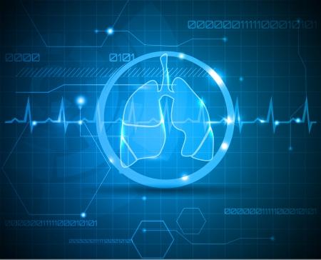 monitoreo: Los pulmones y el latido del coraz�n de supervisi�n de l�nea cient�fica y m�dica Concepto fondo de pantalla de las nuevas tecnolog�as m�dicas Vectores